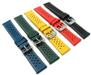Perforated Retro Racing Style Leather Watch Strap C093
